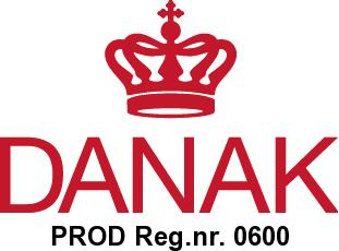 DANAK logo og registreringsnummer